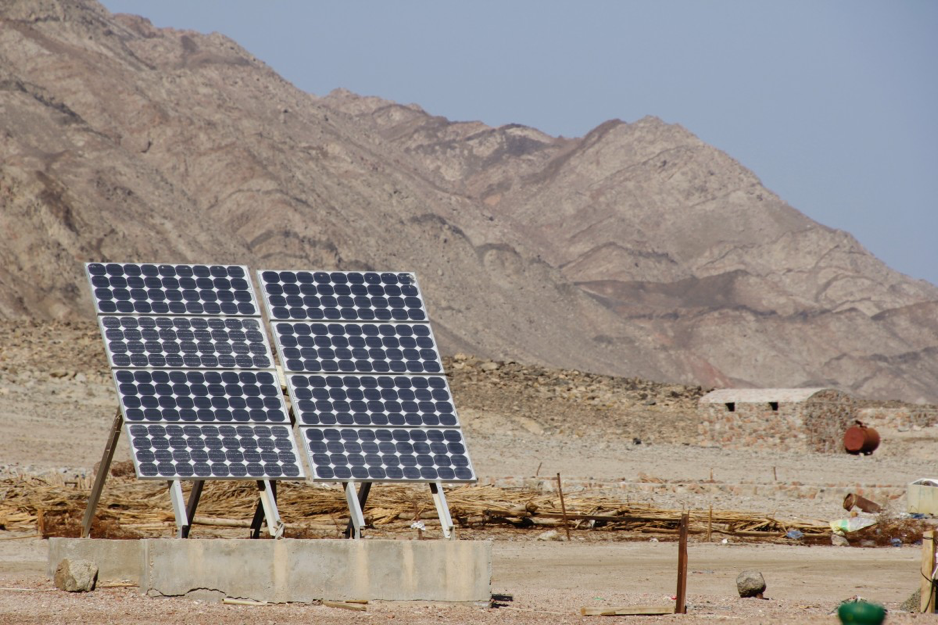 Solar Panel installed in desert