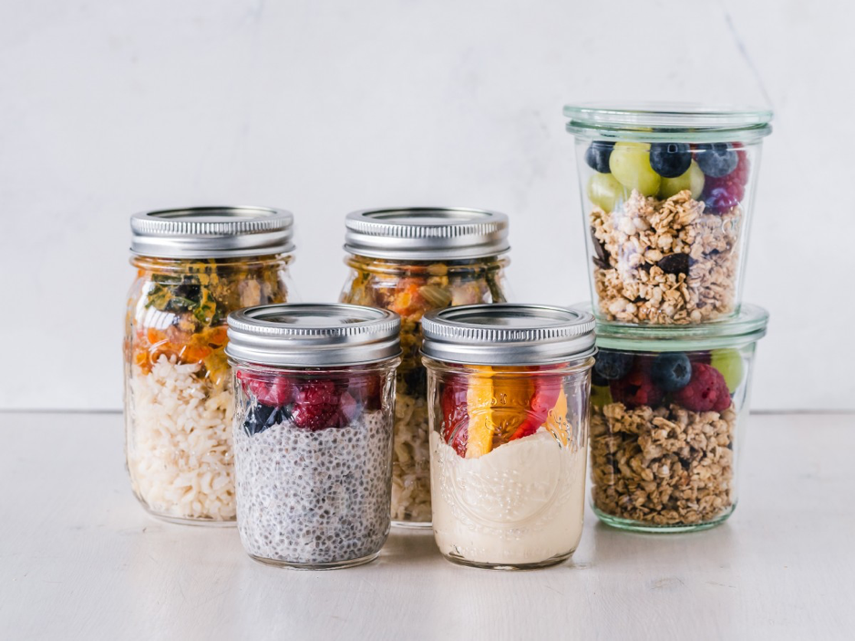 Food stored in sealed glass containers